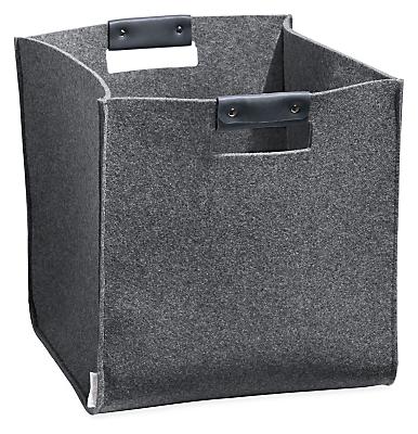 Burke 11w 11d 11h Felt Storage Bin with Leather Handles