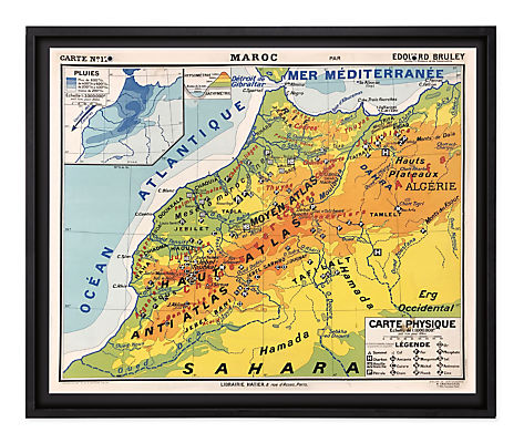 Vintage French School Map - Maroc Physique