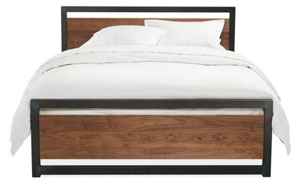 Piper Wood Panel Bed In Natural Steel Modern Contemporary Beds Modern Bedroom Furniture Room Board