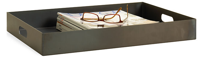 Steel Rectangle Tray in Natural Steel