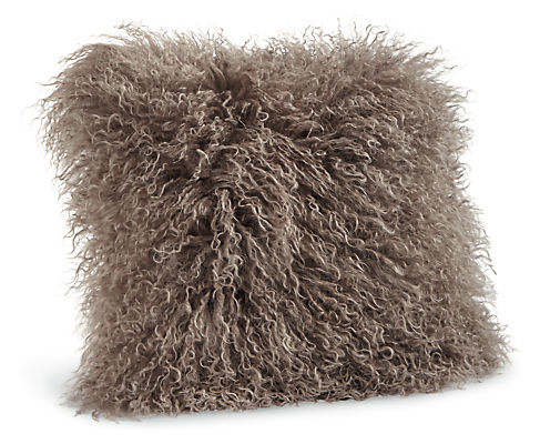 Tibetan Sheepskin 16w 16h Throw Pillow