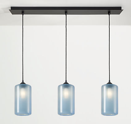Gale Pendants with Rectangle Ceiling Plate - Set of Three