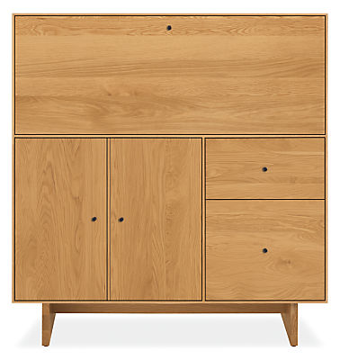 Hudson 42w 20d 44h Office Armoire with Wood Base