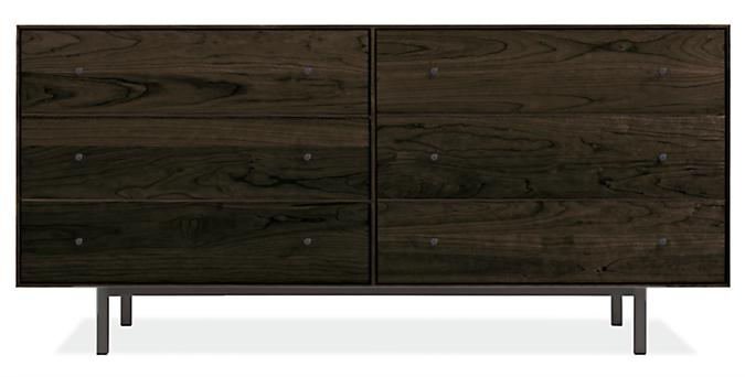 Hudson 60w 20d 28h Six-Drawer Dresser with Steel Base
