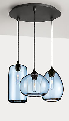 Sky Pendants with Round Ceiling Plate - Set of Three