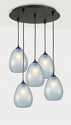 Gale Pendants with Round Ceiling Plate - Set of Five