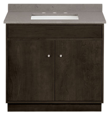 Linear 36w 21.75d 34h Bathroom Vanity with Left & Right Overhang and Wood Base