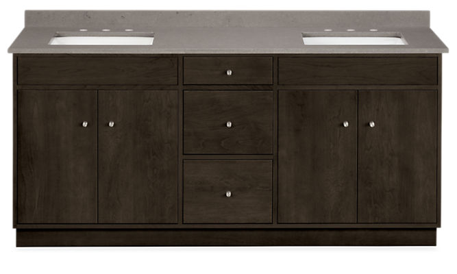 Linear 72w 21d 34h Bathroom Vanity with Left & Right Overhang and Wood Base