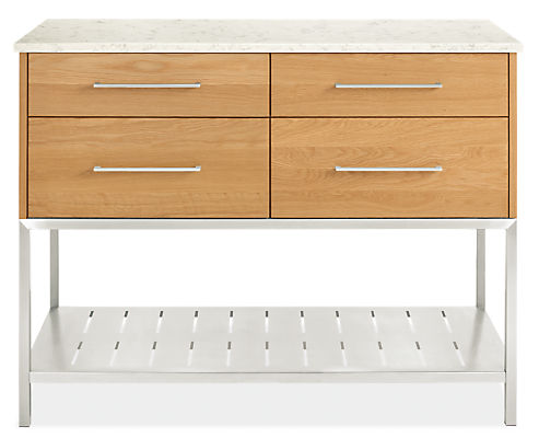 Booker 48w 24d 36h Four-Drawer Kitchen Island with Full Shelf