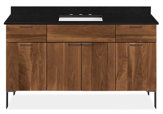 Kenwood 60w 21.75d 34h Bathroom Vanity with Left & Right Side Overhang