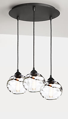 Glow Globe Pendants with Round Ceiling Plate - Set of Three