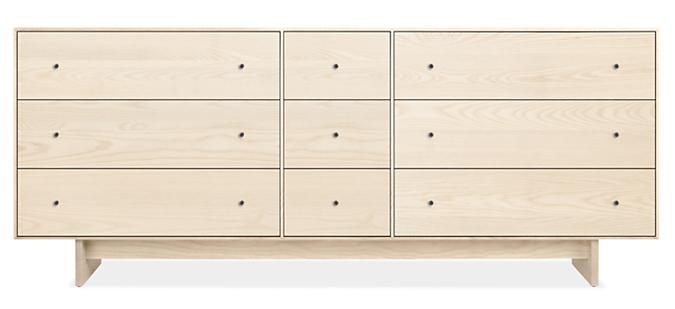 Hudson 84w 20d 34h Nine-Drawer Dresser with Wood Base