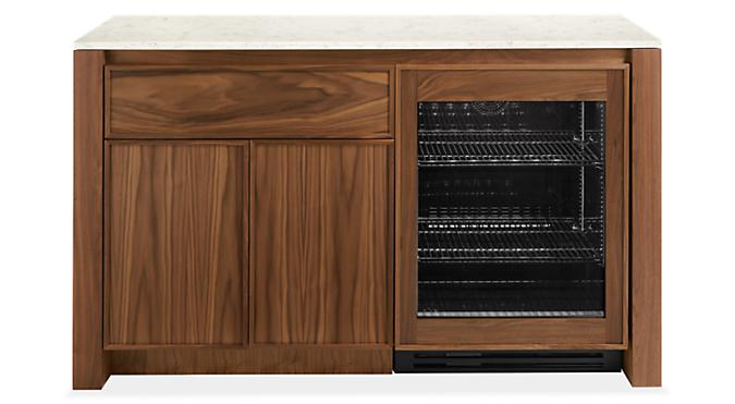 Amherst 60w 25d 36h Storage Cabinet w/Glass Refrigerator Door