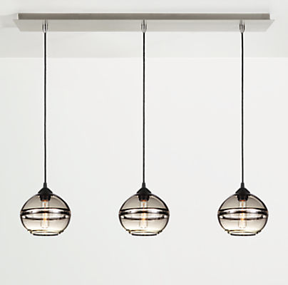 Banded Pendants with Rectangle Ceiling Plate - Set of Three