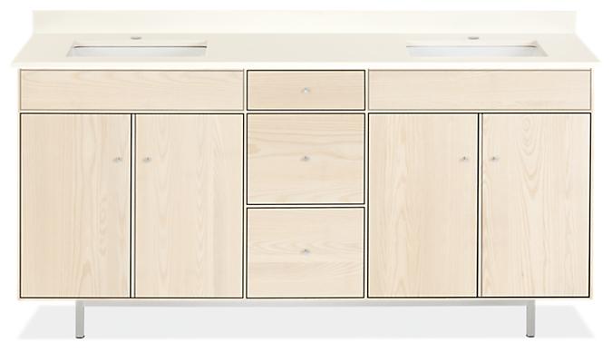 Hudson 72w 21.75d 34h Bathroom Vanity with Left & Right Side Overhang