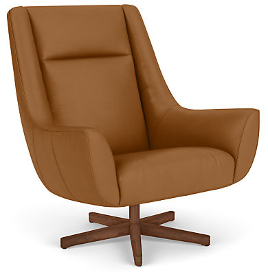 Charles Swivel Chair with Wood Base