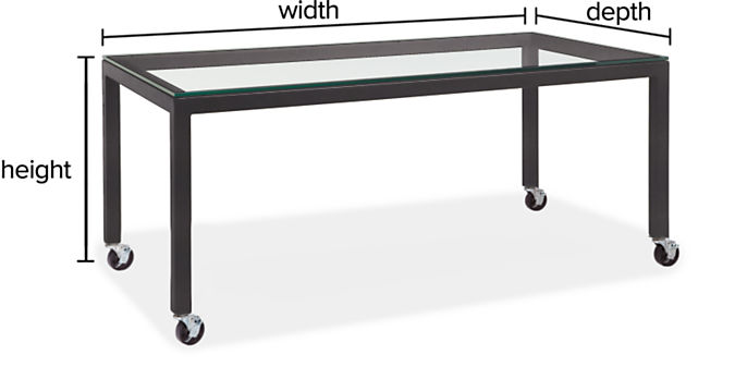 """Parsons Custom Table with Casters and 2"""" Leg"""