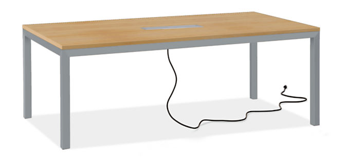 """Parsons 78w 42d Table with Tabletop 8-Port Power/Charging Outlet & 2"""" Leg"""