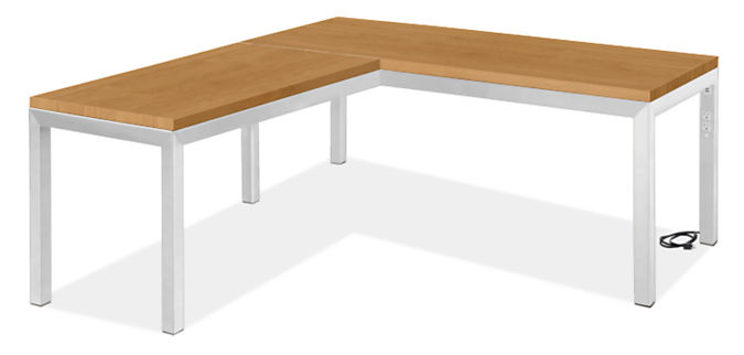 """Parsons L-Shaped Desk 72w 36d w/48w 24d Return w/Right Power Cord & 2"""" Leg"""