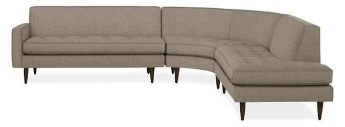 """Reese 115x114"""" Three-Piece Curved Sectional w/Left-Back Sofa"""