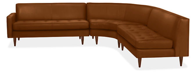 """Reese 116x115"""" Three-Piece Curved Sectional w/Left-Arm Sofa"""