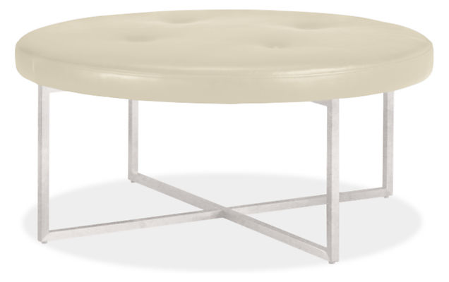 Sidney Leather Round Ottomans Modern Coffee Tables Modern Living Room Furniture Room Board