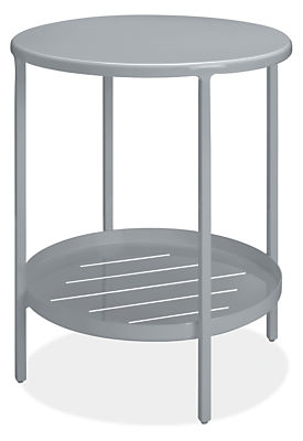 Slim 15 diam 18h Round Outdoor Side Table with Shelf