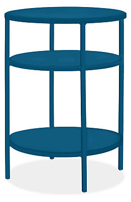 Slim 15 diam 20h Round End Table with Shelves