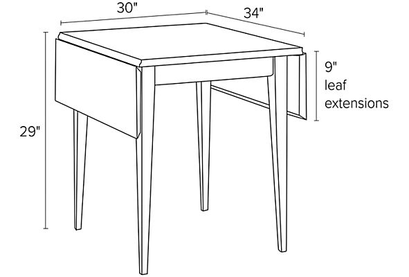 Illustration of Adams drop-leaf table dimensions