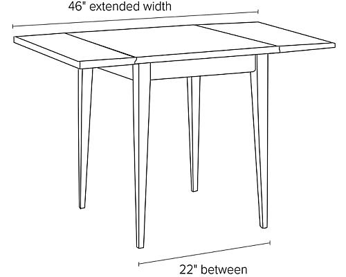 Illustration of Adams drop-leaf table extended