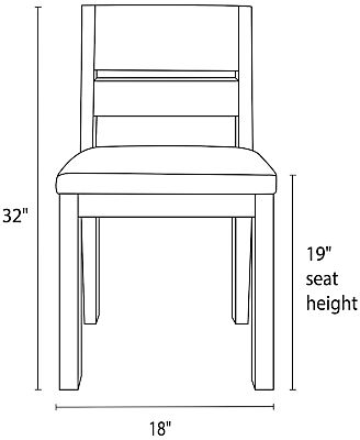 Illustration of Afton side chair dimensions