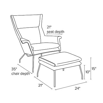 Side view dimension illustration of Aidan chair