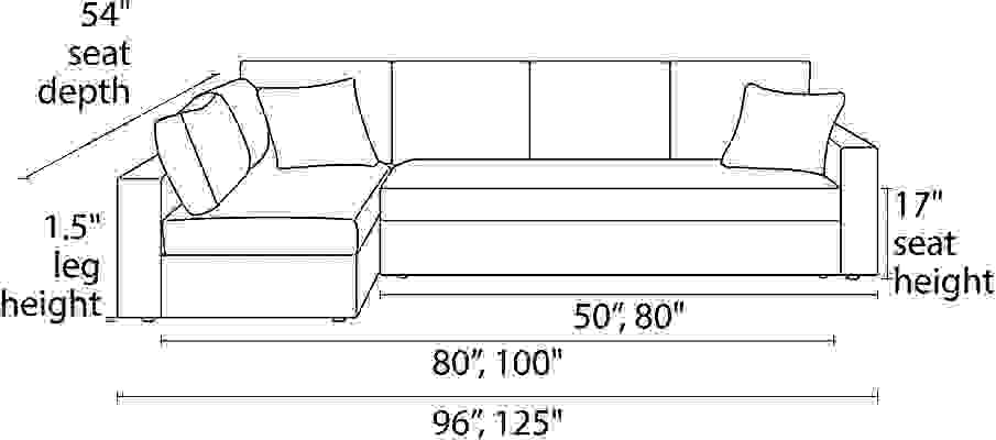 Front view dimension illustration of Aldrich sleeper sofa sectional