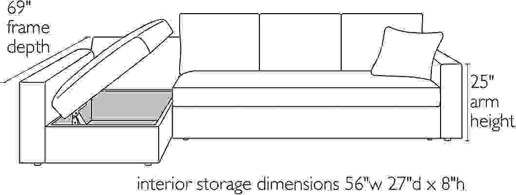 Dimension illustration of Aldrich sleeper sectional with storage open