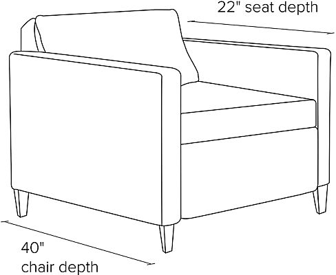 Side view dimension illustration of thin arm Allston sleeper chair