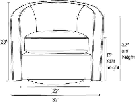 Front view dimension illustration of Amos chair