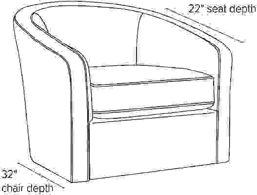 Side view dimension illustration of Amos chair