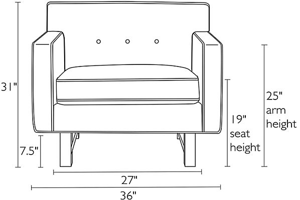 Front view dimension illustration of Andre chair