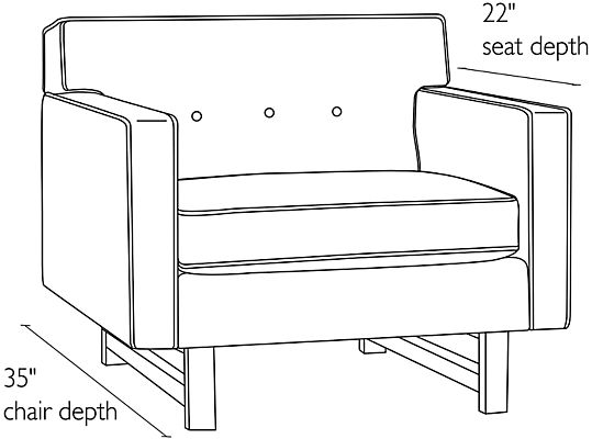 Side view dimension illustration of Andre chair