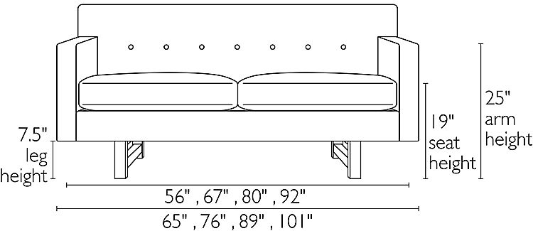 Front view dimension illustration of Andre sofa
