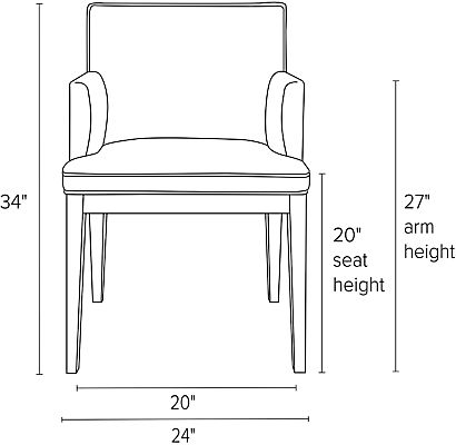 Front view dimension illustration of Ansel arm chair