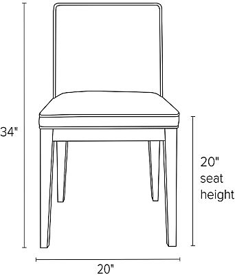Front view dimension illustration of Ansel side chair