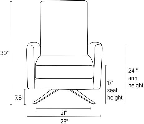 Front view dimension illustration of Arlo recliner with curved arms