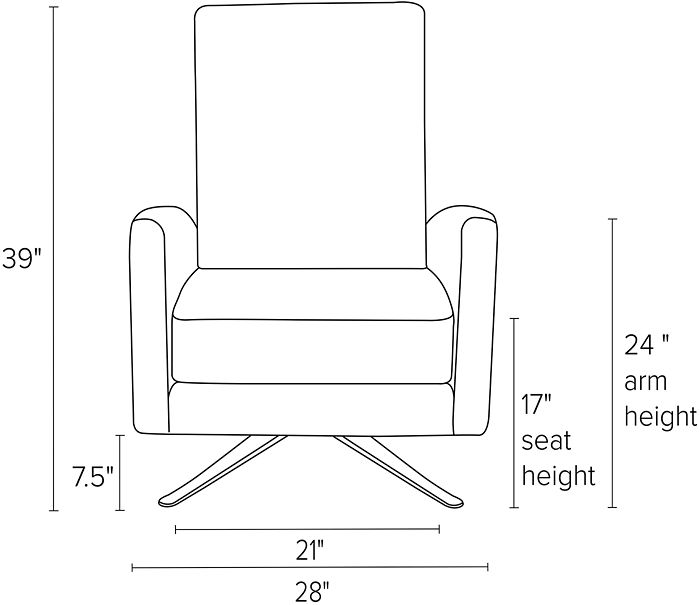 Dimensions for Arlo thin and curved arm recliners