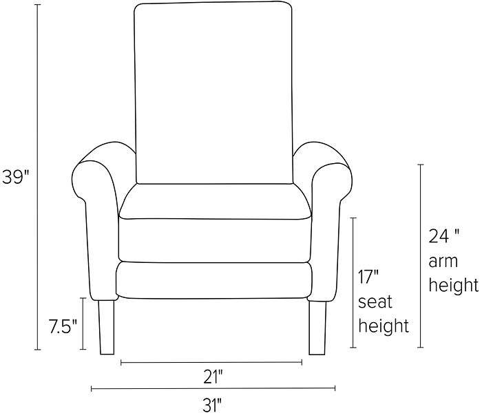 Dimensions for Arlo rolled arm recliners