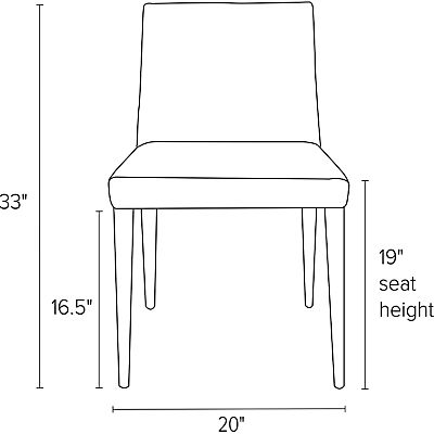 Front view dimension illustration of Ava side chair