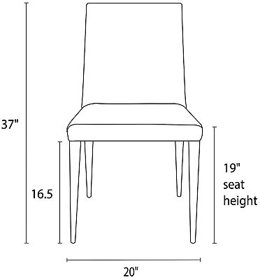 Front view dimension illustration of Ava high back chair