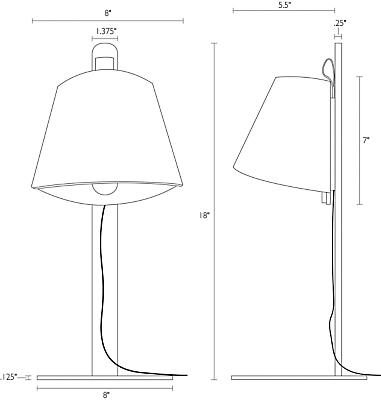 Detail of Avi table lamp dimension drawing