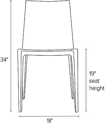 Front view dimension illustration of Bellini chair