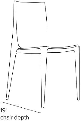 Side view dimension illustration of Bellini chair